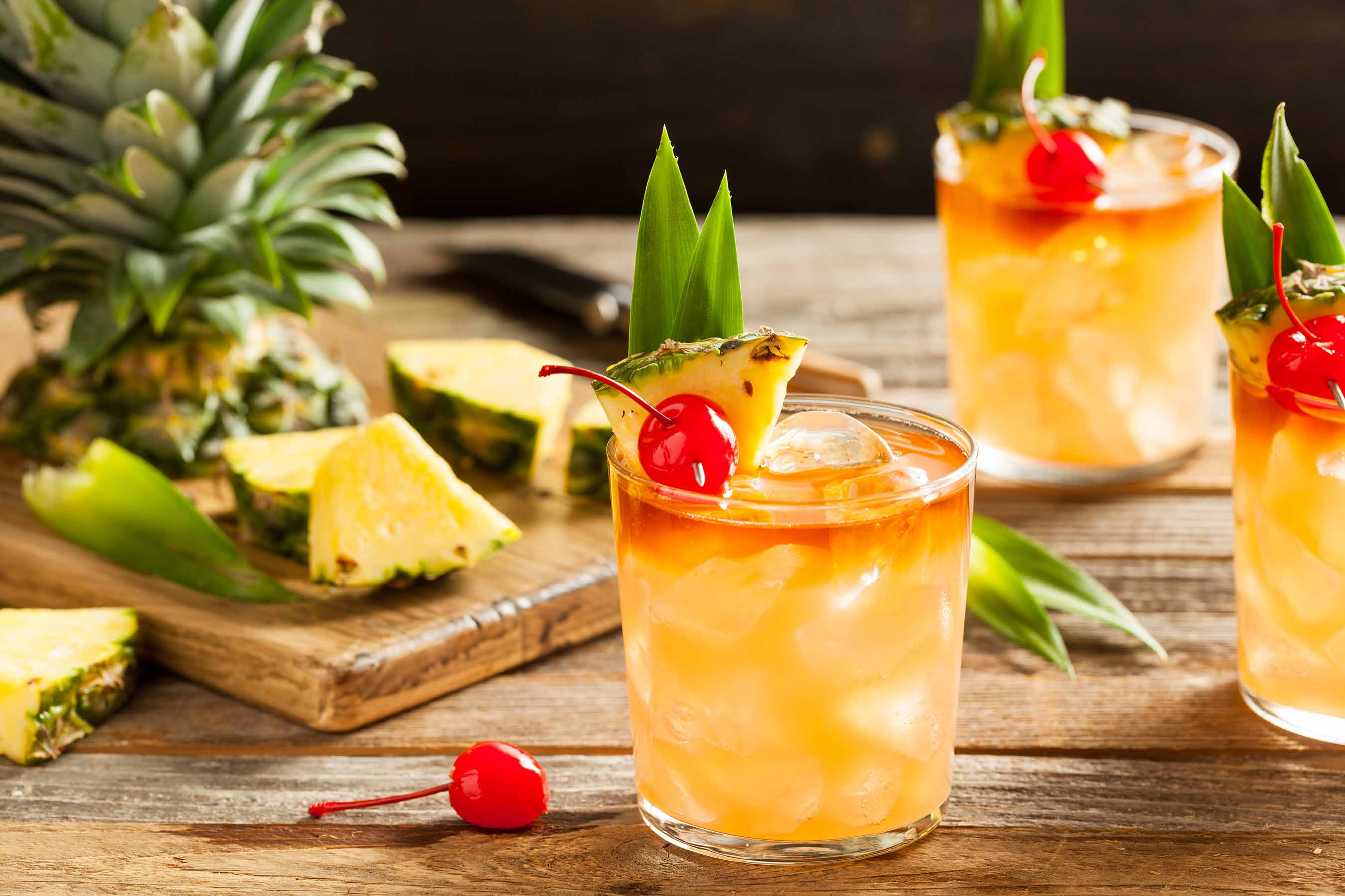 Mai Tai Beverages with Fresh Pineapple