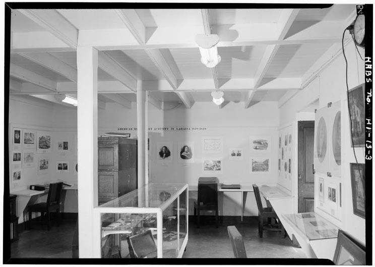 Historical image of the inside of the Master's Reading Room in Lahaina
