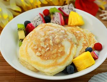 Macadamia Nut Pancakes and Fruit