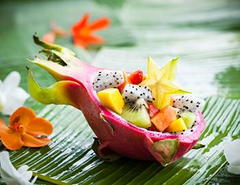 Dragon Fruit Boat filled with Hawaiian Fruit