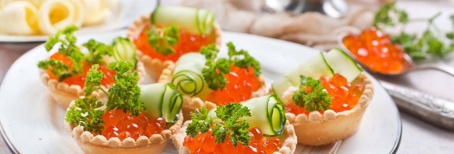 Roe Pastries with Cucumber Rolls