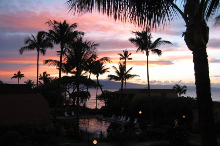 sunset from the Kuleana Resort, Maui Hawaii