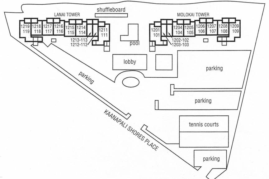 Property map for Mahana Condominiums near Lahaina