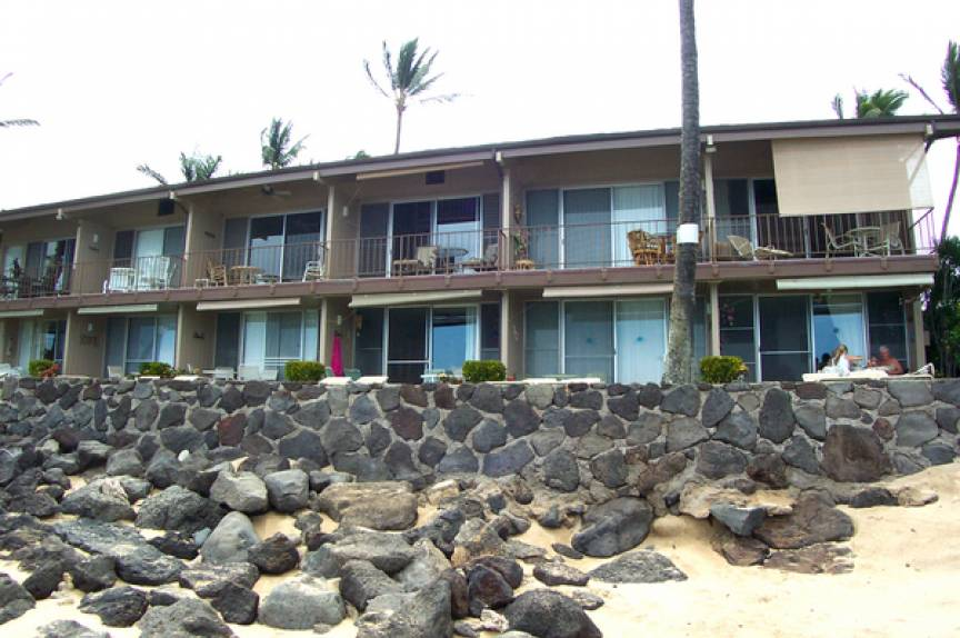 view of the Pikake Resort from the beach