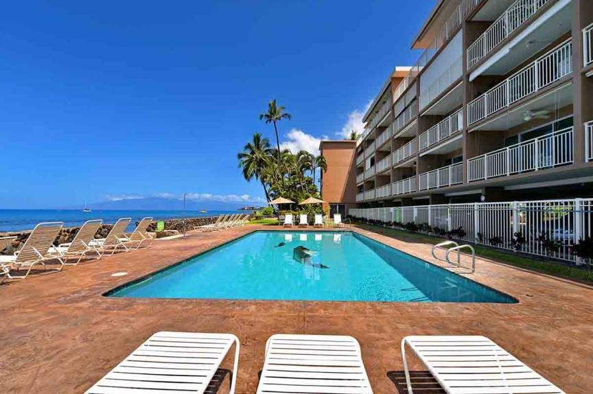 The pool with an excellent water view at Lahaina Roads Resort